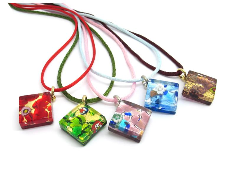 Murano Glass diagonal Pendants, 20x20 mm ( PEMG02 ) available in 11 different colours, made entirely handmade by Murano master glass-makers with the glass sheet technique, and silver 925 and gold 24 kt insertions, with cotton cord in assorted colours (45 cm)