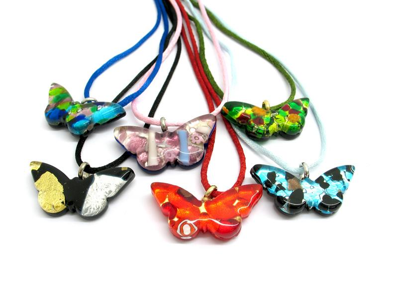 Murano Glass butterfly Pendant, 35x18  mm ( PEMG0113 ) available in 11 different colours, made entirely handmade by Murano master glass-makers with the glass sheet technique, and silver 925 and gold 24 kt insertions, with cotton cord in assorted colours (45 cm)