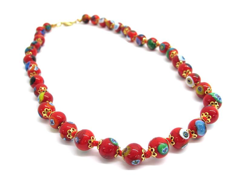 Murano Glass bead Necklace, made with beads 12 mm in diameter ( COLPE0101 ) available in 4 colour, made entirely handmade by Murano master glass-makers with the lampwork technique, from Murano -  Italy, with Murrina and Millefiori insertions, 45 cm long.( white color )