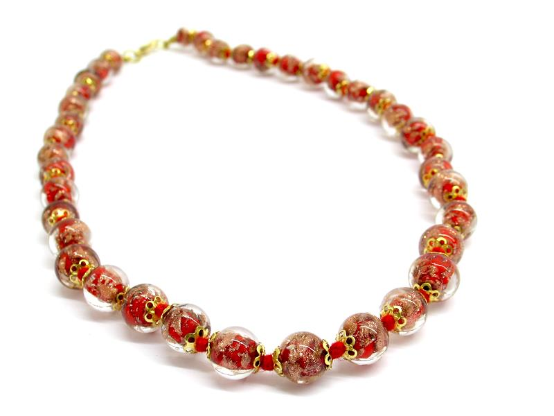 Murano Bead Necklace, made with beads 12 mm in diameter ( COLPE0127 ) available in 5 colour, made entirely handmade by Murano master glass-makers with the lampwork technique, in our factory in  Murano - Italy, with Avventurina glass insertions, 45 cm long.