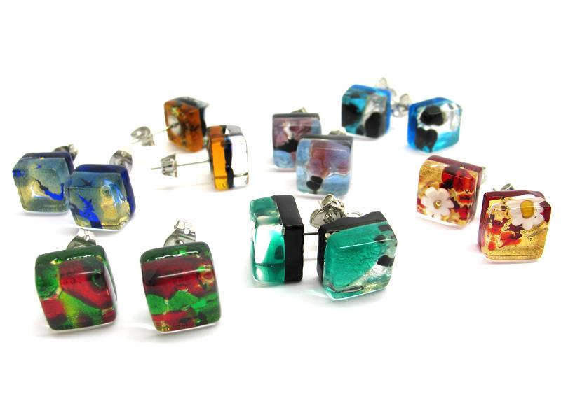 Murano Glass square Earrings, 10x10 mm ( OREQ01 ) available in 11 different colours, made entirely handmade by Murano master glass-makers with the glass sheet technique, and silver 925 and gold 24 kt insertions, nickel free earring hooks.