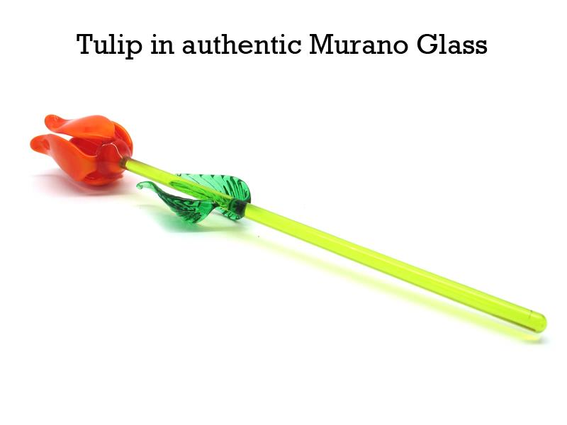 Tulip in authentic Murano Glass Mod.OGVFL  ( Long. 20 cm )  Flower Diam.25 mm, available in 3 assorted Colours, entirely handmade by Murano master glass-makers with the lampwork technique, in our Factory in Murano - Italy.