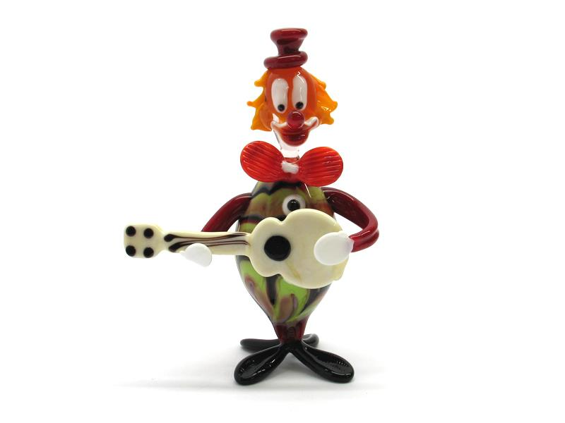 Murano venetian Glass Clowns ( OGV5 SPIRITOSO CHITARRA ) 110x70 mm, available in 10 assorted colours, made entirely handmade by our Murano master glass-makers with the lampwork technique, in our factory in Murano Venice Italy.