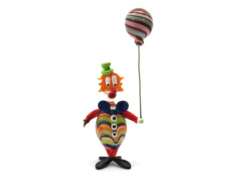 Italian Glass Clowns ( OGV5 SPIRITOSO PALLONCINO ) 160x70 mm, available in 10 assorted colours, made entirely handmade by our Murano master glass-makers with Hand blown technique, in our factory in Murano Venice.