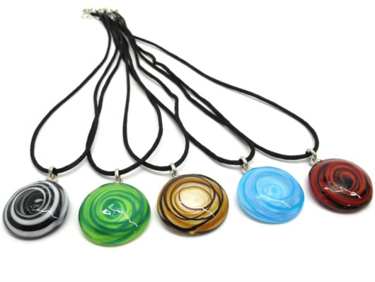 Murano Glass Necklaces - Murano Necklace in curved round shape - COLV0404  - 30 mm in diameter