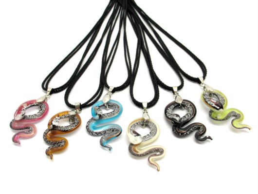 Murano Glass Necklaces - Murano necklace snake pendant - COLV0102 - 45x20 mm