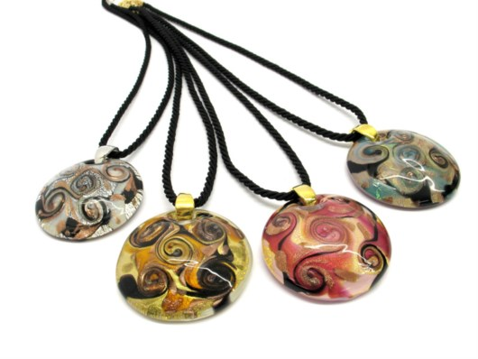 Murano Glass Necklaces - Murano Glass Necklace in curved shape - COLV0115 - 50 mm in diameter