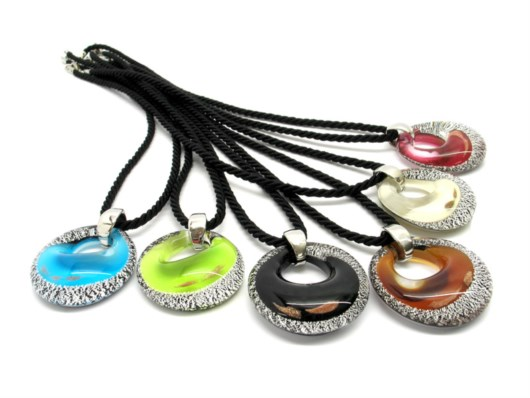 Murano Glass Necklaces - Murano Glass Necklace, with round pendant - COLV0162 - 40 mm in diameter