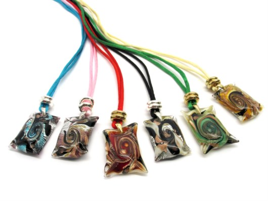 Murano Glass Necklaces - Murano Necklace, in square shape - COLV0168 - 35x30 mm