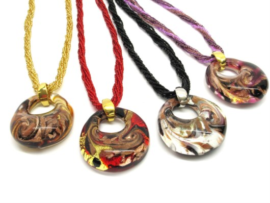 Murano Glass Necklaces - Murano Glass Necklace, with round pendant, 45 mm in diameter - COLV0176