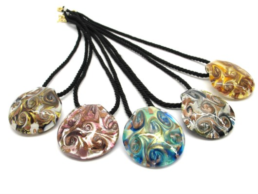 Murano Glass Necklaces - Murano Glass Necklaces, round curved shape - COLV0228