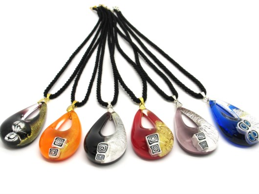 Murano Glass Necklaces - Murano glass bicolored oval Necklaces - COLV0286