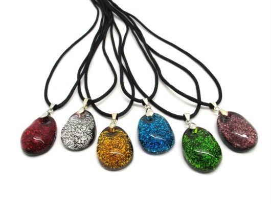 Murano Glass Necklaces - Murano Glass oval Necklace jewelry - COLV0290 - 30x20 mm