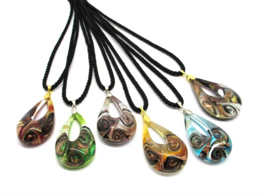 Murano Glass Necklaces - Murano oval Necklaces - COLV0294 - 50x30 mm