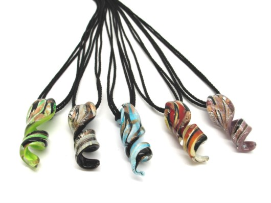 Murano Glass Necklaces - Spiral Murano Glass Necklaces - COLV0318 - 40x15 mm