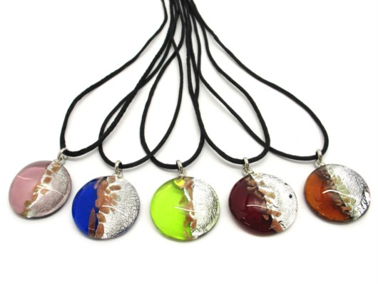 Murano Glass Necklaces - Murano Glass Necklaces in curved shape - COLV0320 - 40 mm in diameter