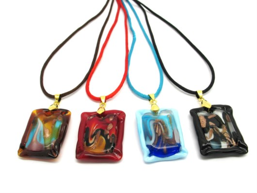 Murano Glass Necklaces - Murano Necklace jewelry - COLV0321 - 35x20 mm