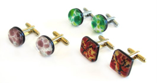 Economic Products - Murano Glass square and round cufflinks -  BGE0102