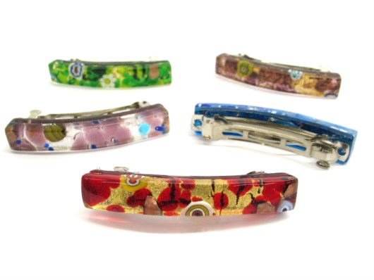 Murano Glass Hairclips - Murano Hair Clips - FCP - 60x10 mm