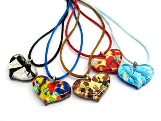 Economic Products - Murano Glass heart Pendant - PEMG0114 - 35x18 mm