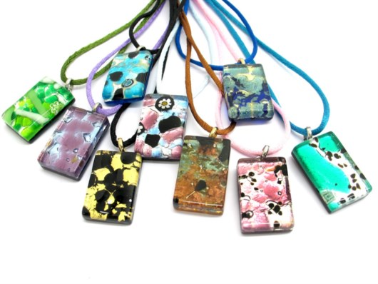 Economic Products - Murano Glass rectangle Pendants - PEMG03 - 30x20 mm