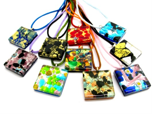 Murano Glass Pendants - Murano Glass jewellery flat square Pendants - PEMG04 -  30x30 mm