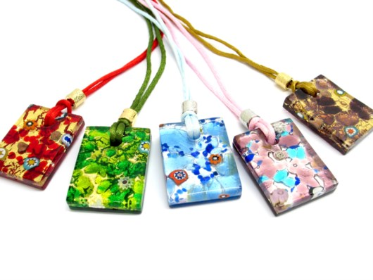 Murano Glass Pendants - Murano Pendant rectangle shape - PEMG10002 - 40x30 mm