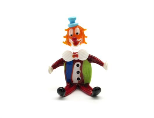 Murano Glass Clowns - Hand blown glass clowns - OGV3 SEDUTO - 80x60 mm