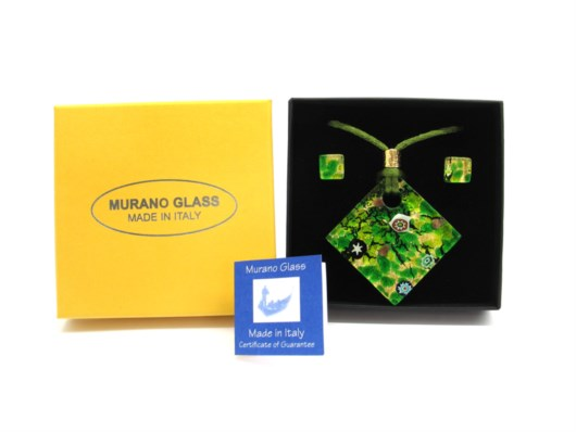 Murano Glass Sets - Parure - Murano Glass jewellery Sets - CP08 40x40 mm ROMBO
