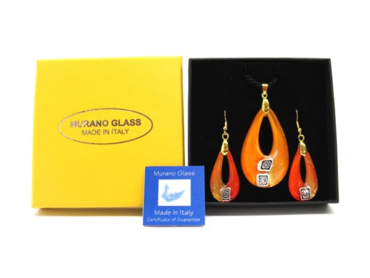 Murano Glass Sets - Parure - Murano jewelry Sets - Parure - CP27 - oval pendant 50x30 mm