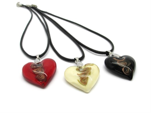 Murano Glass Pendants - Murano Glass heart Pendant - COLMT0201 - 30x30 mm