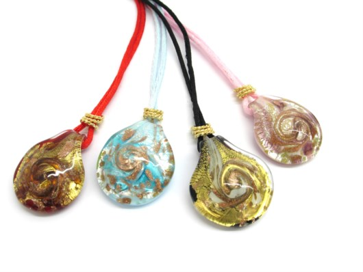Murano Glass Pendants - Murano Glass Pendant round shape - COLV0227 - 30x25 mm