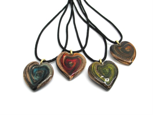 Murano Glass Pendants - Murano heart Pendant - COLV0236 - 30x30 mm