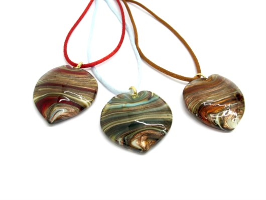 Murano Glass Pendants - Murano Glass heart Pendant - COLV0242 - 35x30 mm