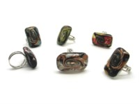 Murano Glass Rings - Murano glass rings fantasy - AV0109 - rectangular shape