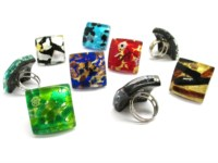 Murano Glass Rings - Murano Glass Ring in curved square shape - AV0113 - 27X27 MM