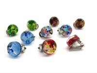 Murano Glass Earrings - italian glass earrings with clips - OREC01 - 15 mm