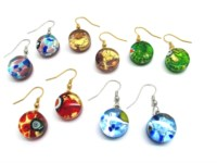 Murano Glass Earrings - venetian glass Earrings - OREL03 - 15 mm in diameter