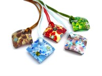 Italian wholesale murano glass pendants - murano glass pendants suppliers - murano glass pendants manufacturers - Murano Glass rumble - PEMG0120 -  30x30 mm